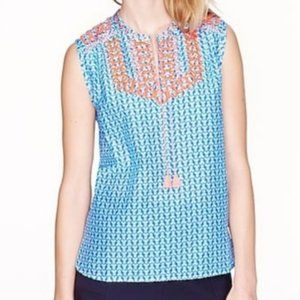 J. Crew Embroidered Tassel Blouse Size 6